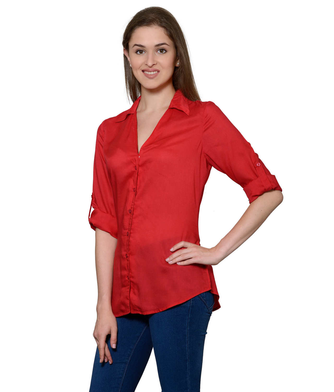 Grandad Collar Shirt in Red