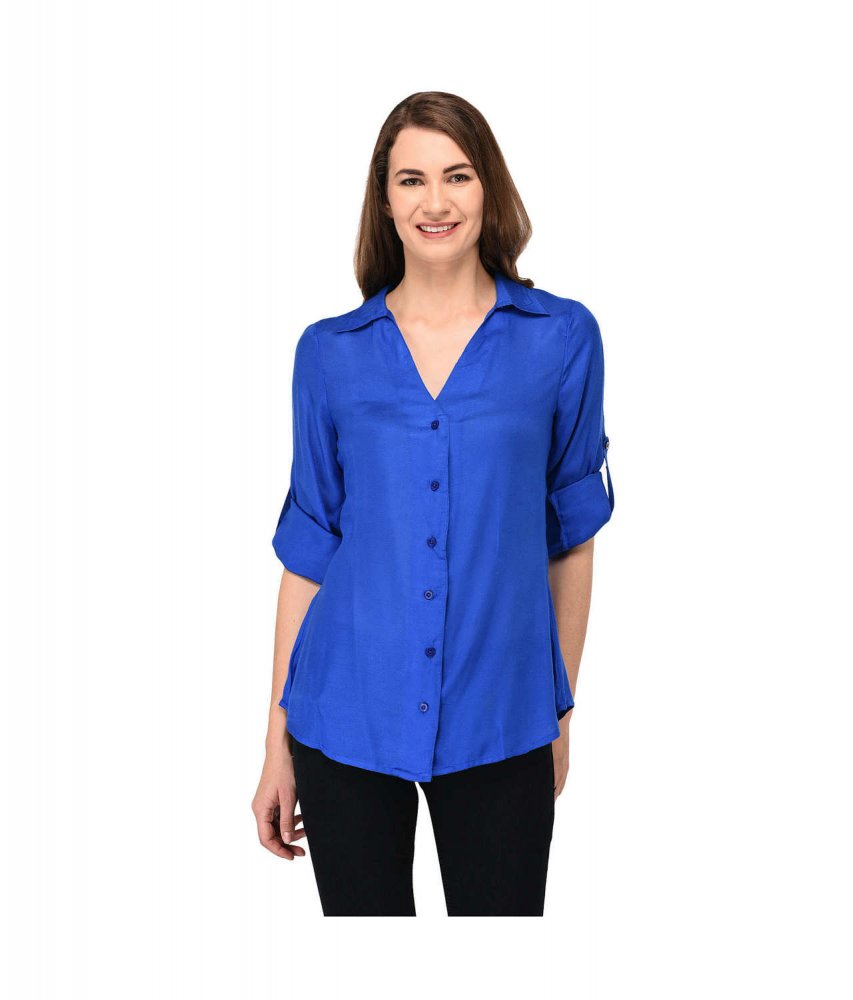 Grandad Collar Shirt in Royal Blue