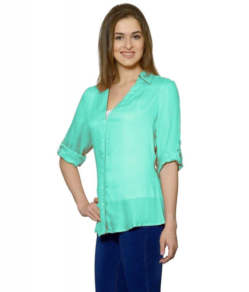 Grandad Collar Shirt in Teal Green