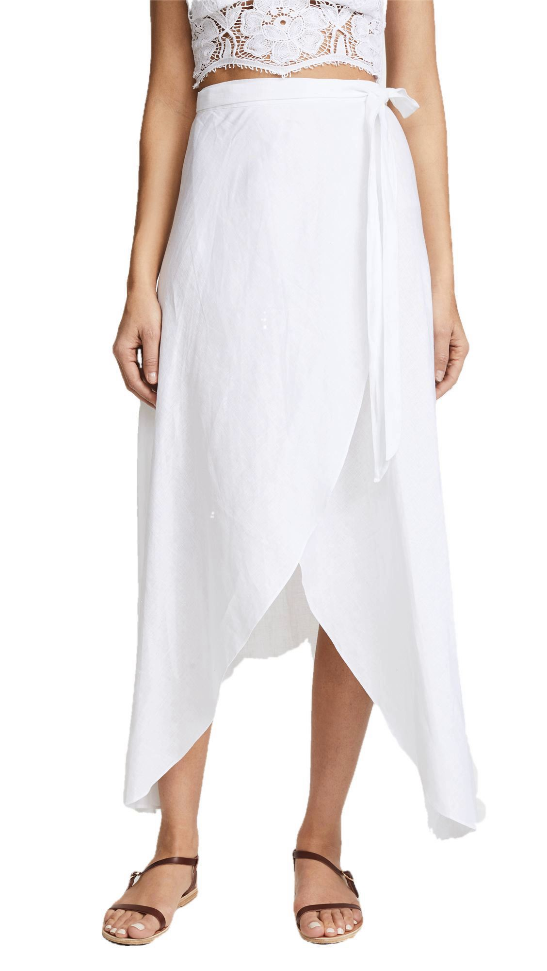 High-Low Ruffle Wrap Skirt in White