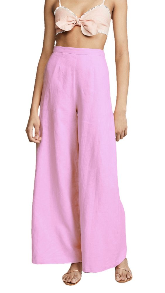 High Waist Bellbottom Cut Palazzo Pant in Baby Pink