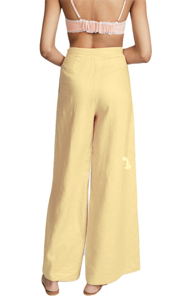 High Waist Bellbottom Cut Palazzo Pant in Gold
