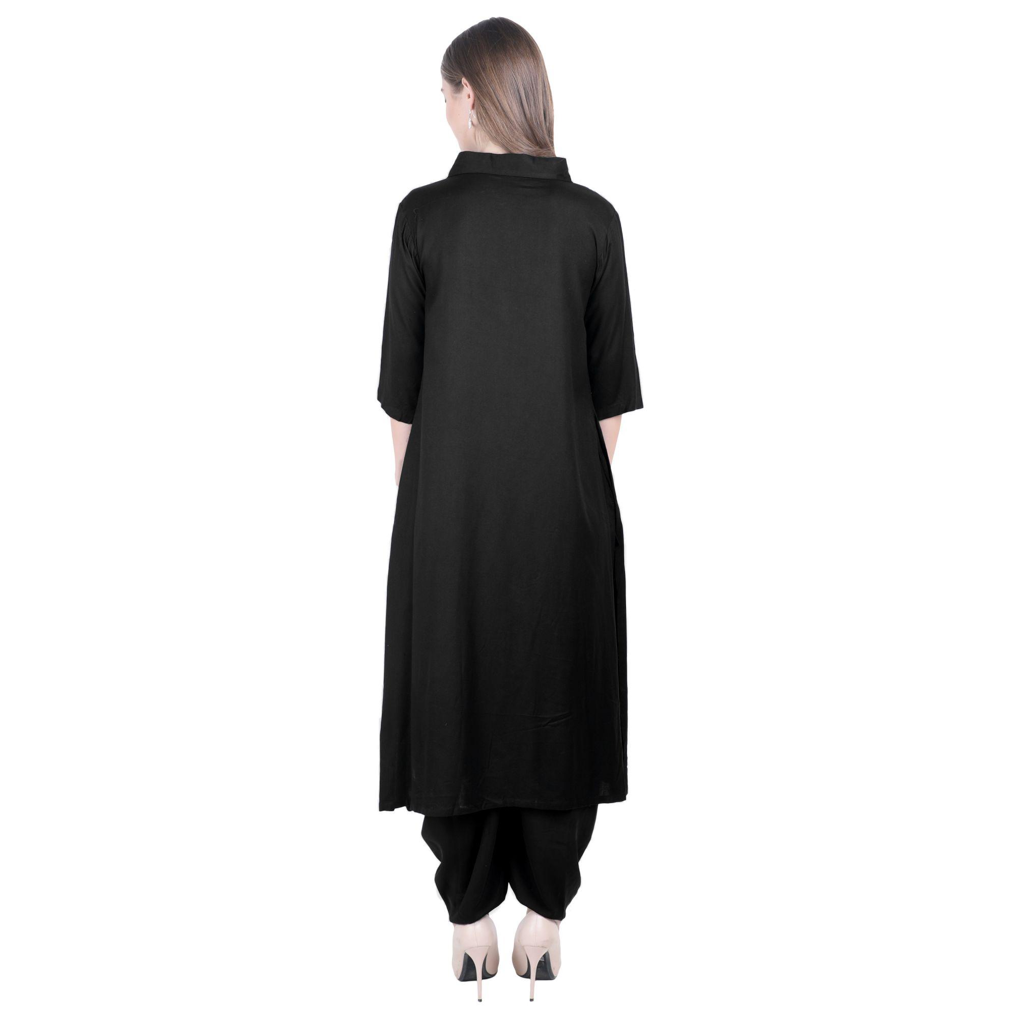 Jacket Style Pathani Kurta Kurti in Black