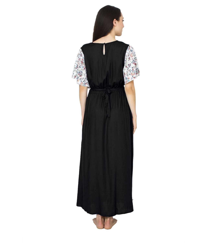Kaftan Style Maxi Nighty in Black