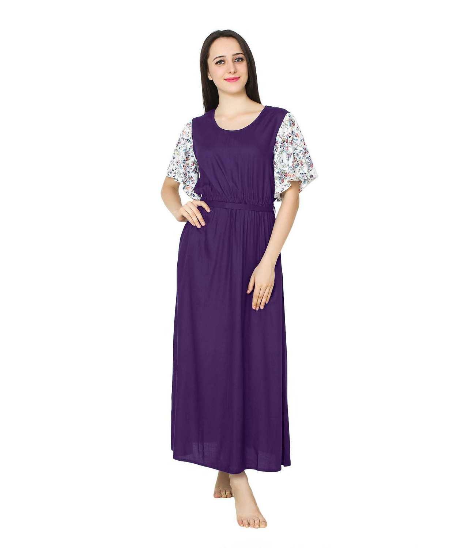 Kaftan Style Maxi Nighty in Purple