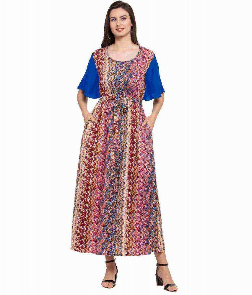 Kaftan Style Maxi Nighty in Turquoise Blue:Orange Print