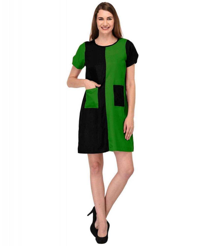 Knee Length Color Block Comumn Dress in Bottle Green:Black