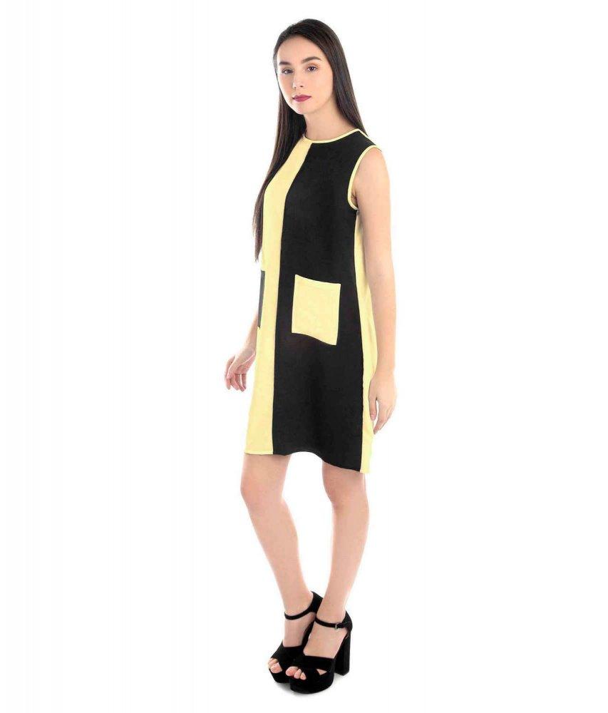 Knee Length Color Block Comumn Dress in Gold:Black
