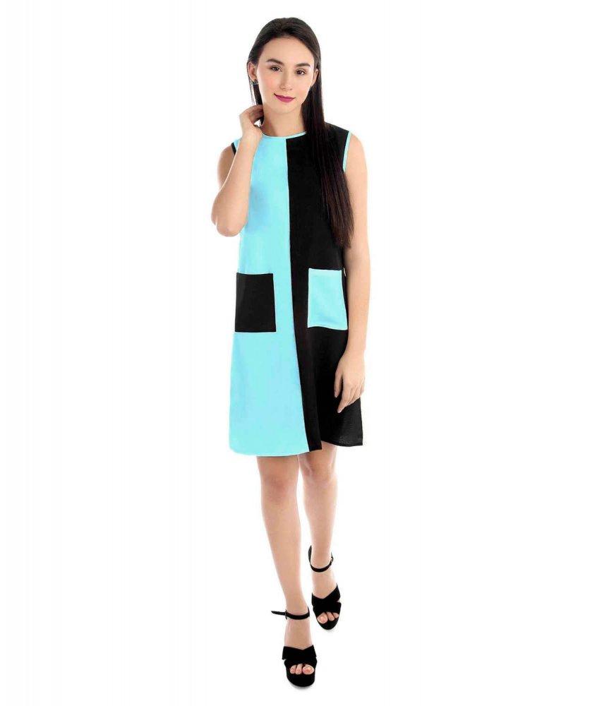 Knee Length Color Block Comumn Dress in Light Blue:Black