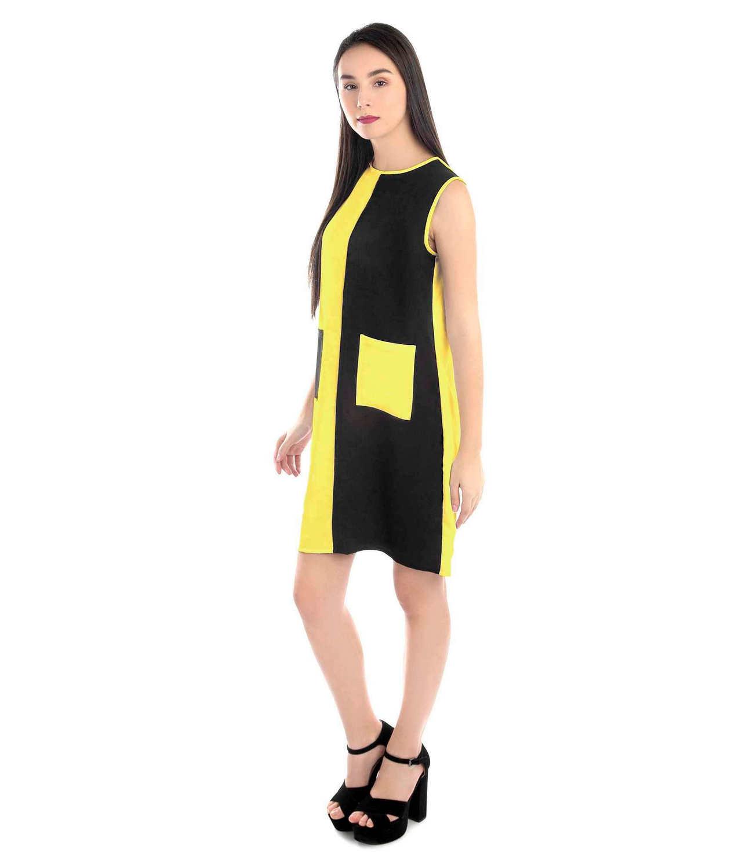 Knee Length Color Block Comumn Dress in Mustard:Black