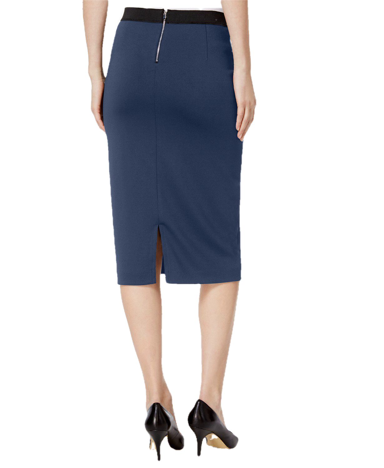 Knee Length Pencil Skirt in Charcoal Grey