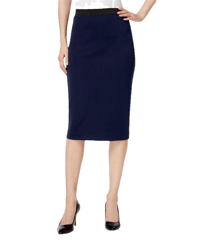 Knee Length Pencil Skirt in Dark Blue