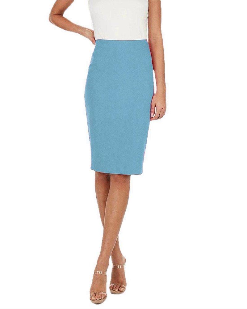 Knee Length Pencil Skirt in Light Blue