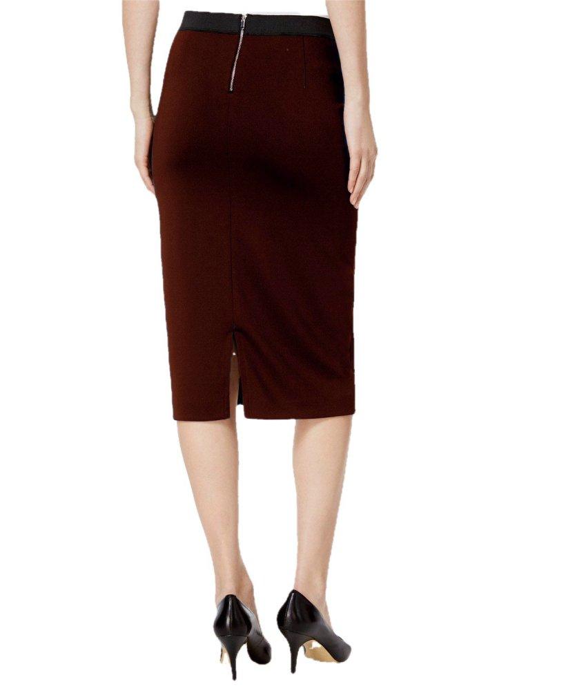Knee Length Pencil Skirt in Maroon
