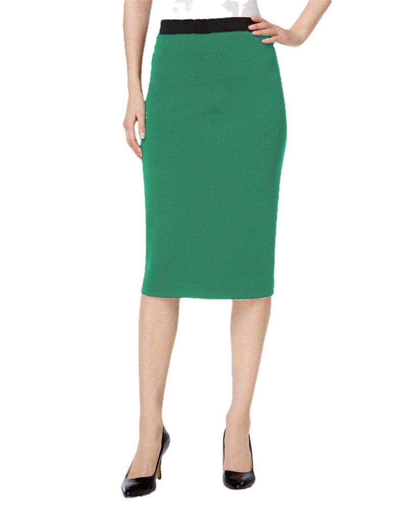 Knee Length Pencil Skirt in Teal Green