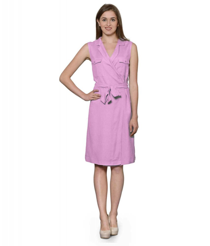 Knee Length Shift Wrap Dress in Baby Pink