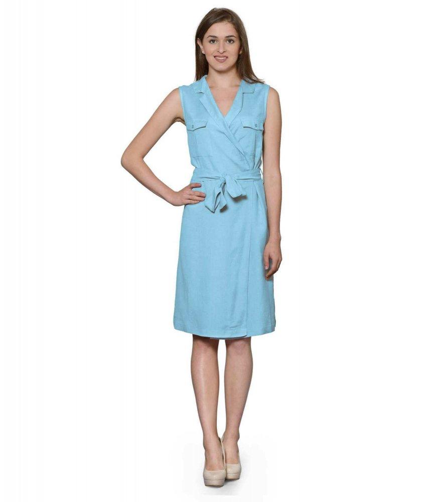 Knee Length Shift Wrap Dress in Light Blue