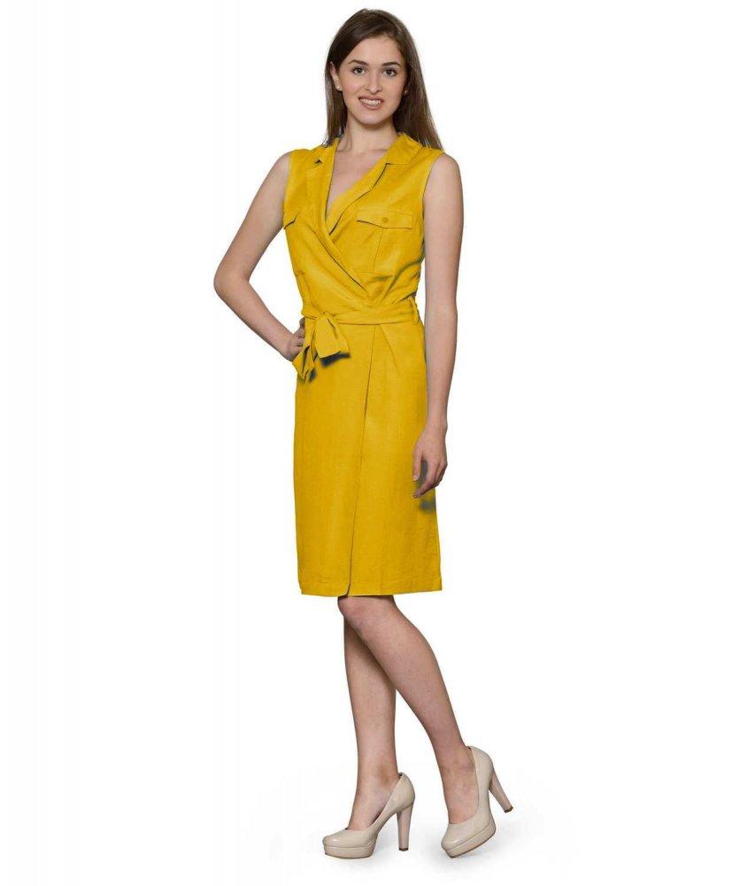 Knee Length Shift Wrap Dress in Mustard