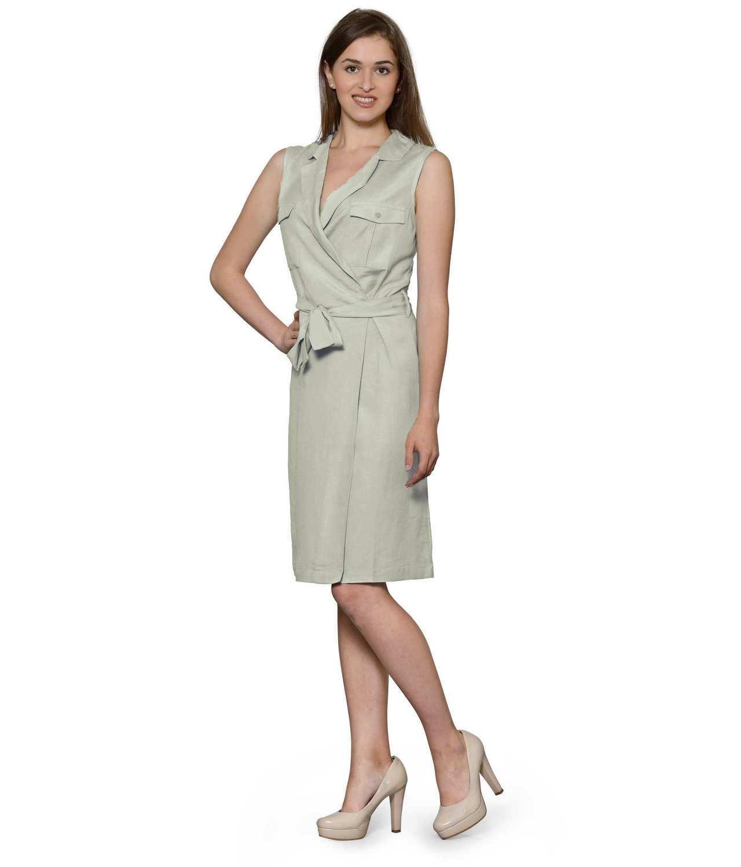 Knee Length Shift Wrap Dress in Off-White