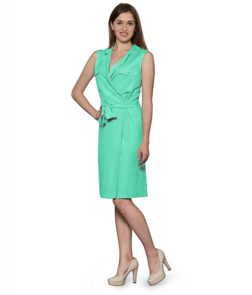 Knee Length Shift Wrap Dress in Teal Green
