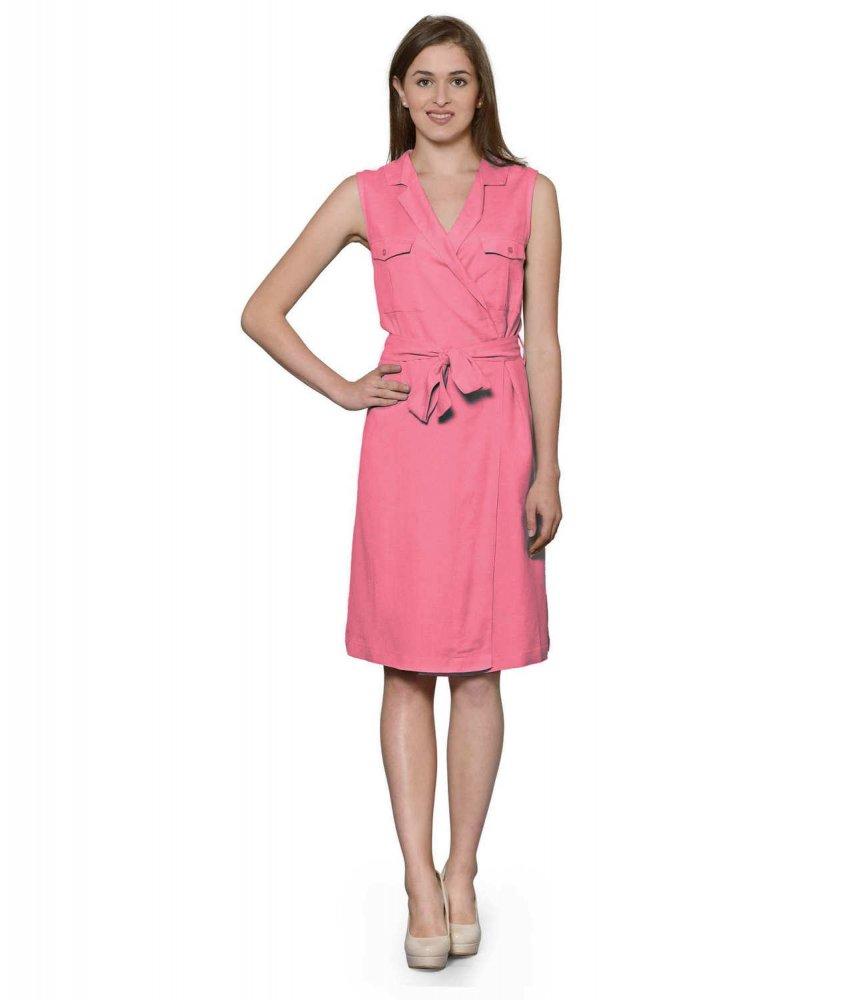 Knee Length Shift Wrap Dress in Vinyl Hot  Pink