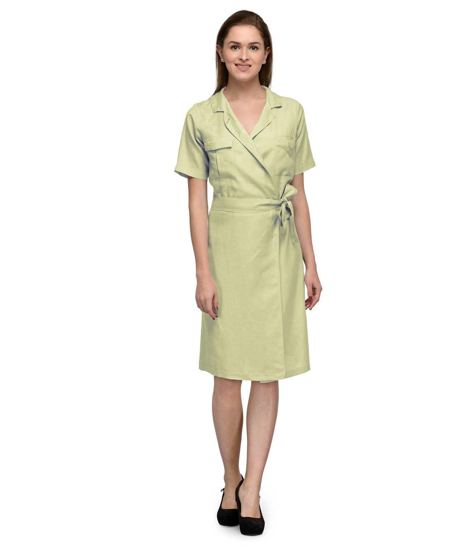 Knee Length Wrap Dress in Cream