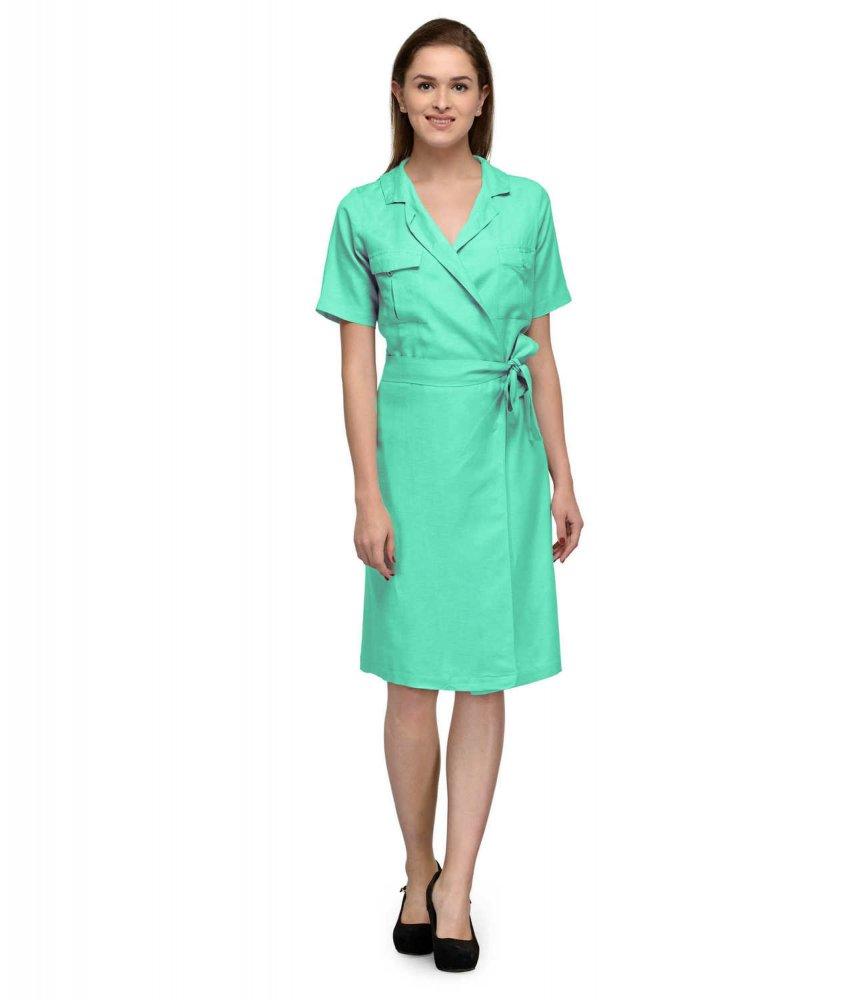 Knee Length Wrap Dress in Teal Green