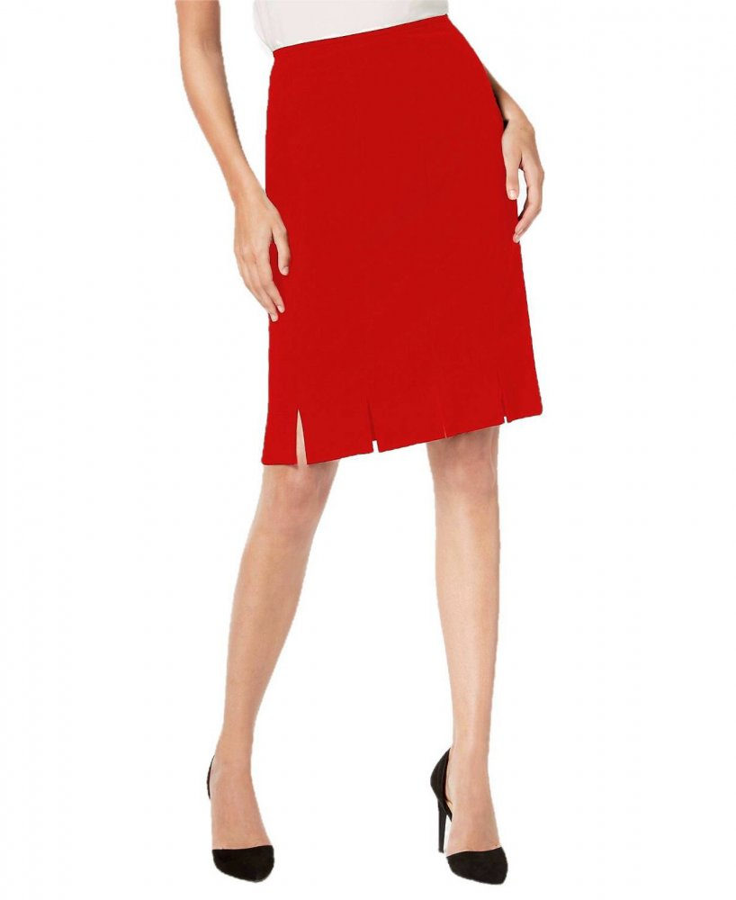 Knee Long Bodycon Slitted Skirt in Red