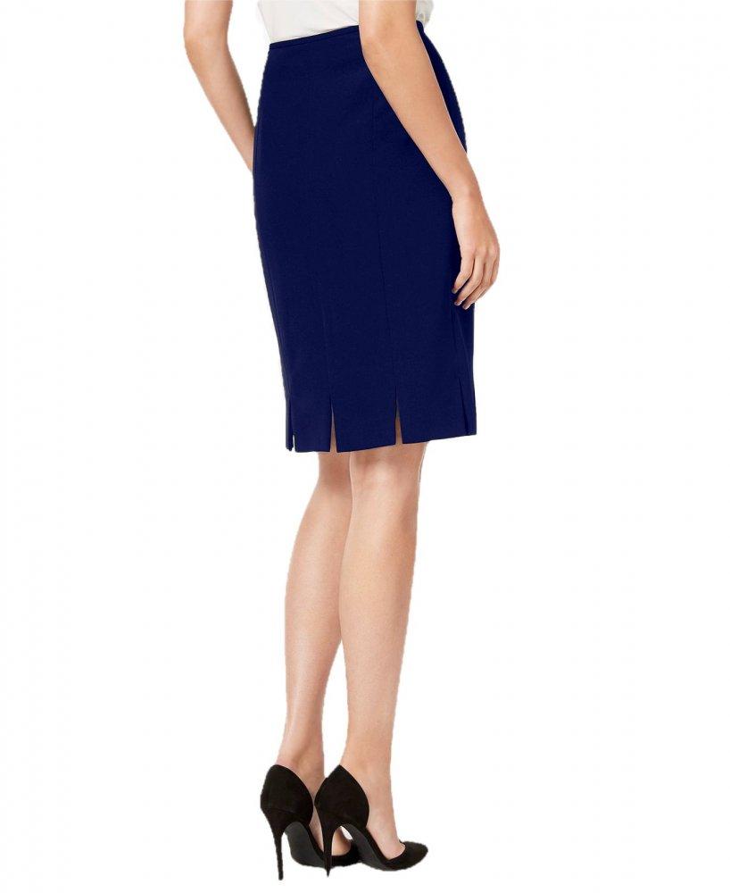 Knee Long Bodycon Slitted Skirt in Royal Blue