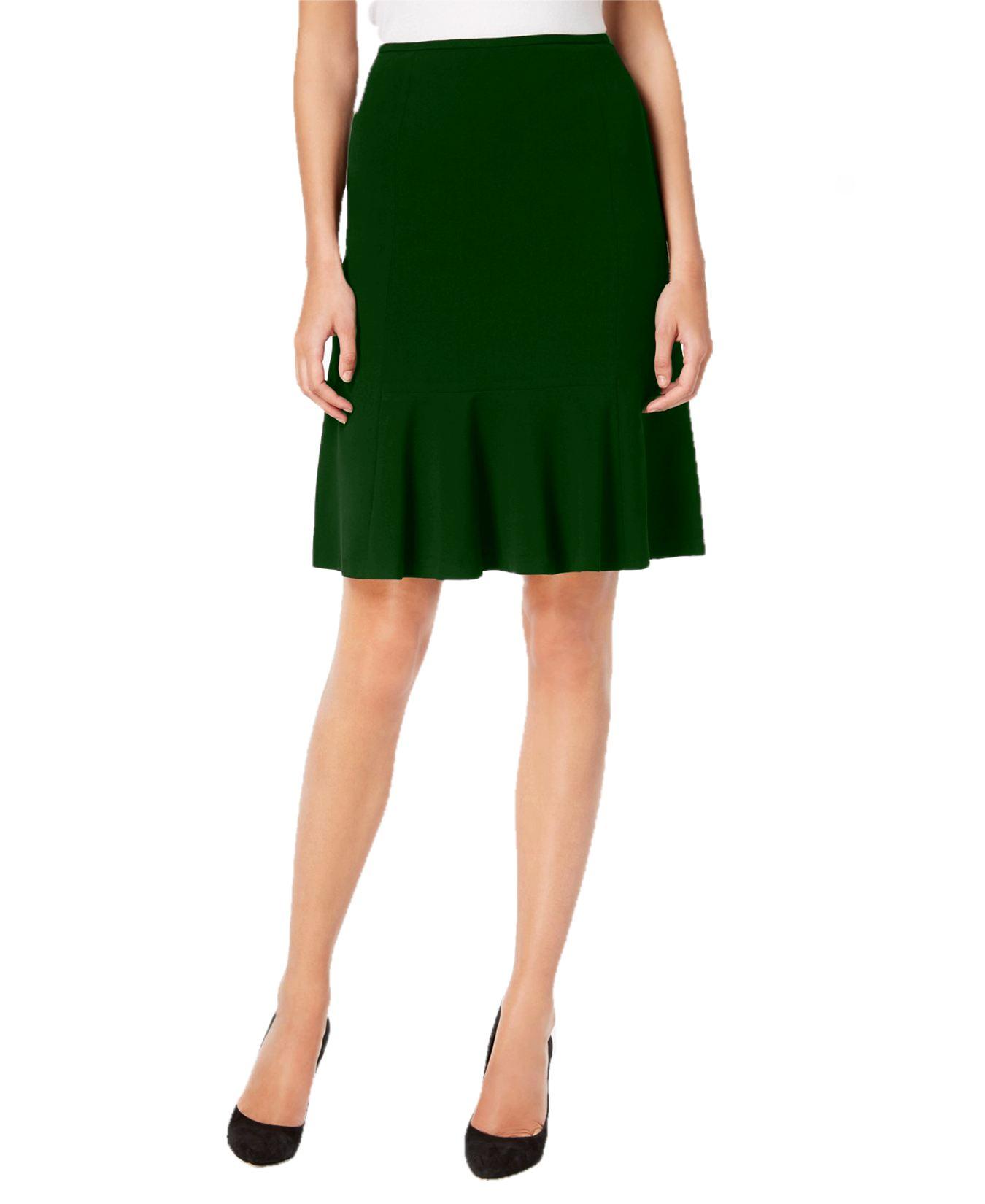 Knee Long Culotte Style Skirt in Bottle Green