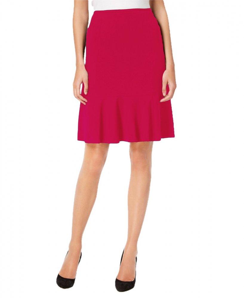 Knee Long Culotte Style Skirt in Magenta