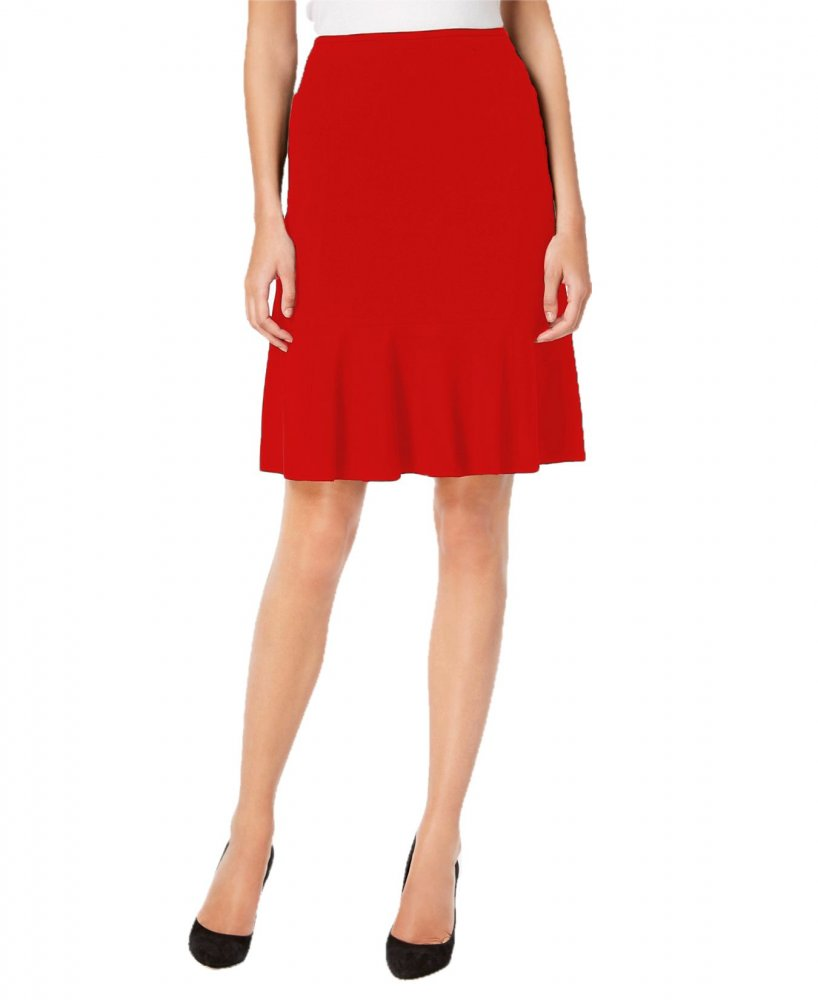 Knee Long Culotte Style Skirt in Red