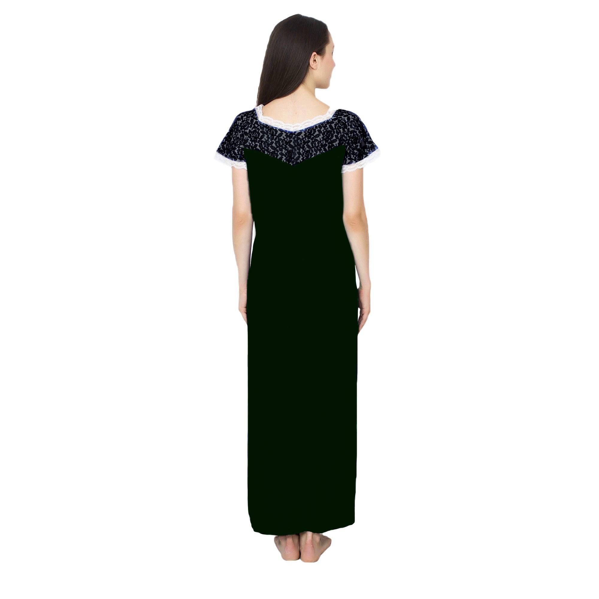 Lace Blouson A-Line Maxi in Black:Bottle Green