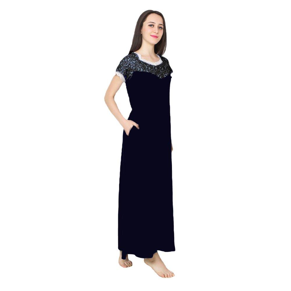 Lace Blouson A-Line Maxi in Black:Dark Blue