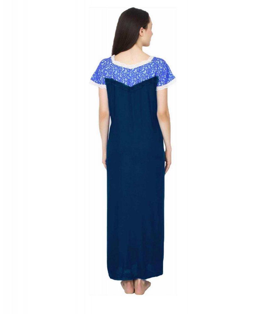 Lace Blouson A-Line Maxi in Blue:Sky Blue