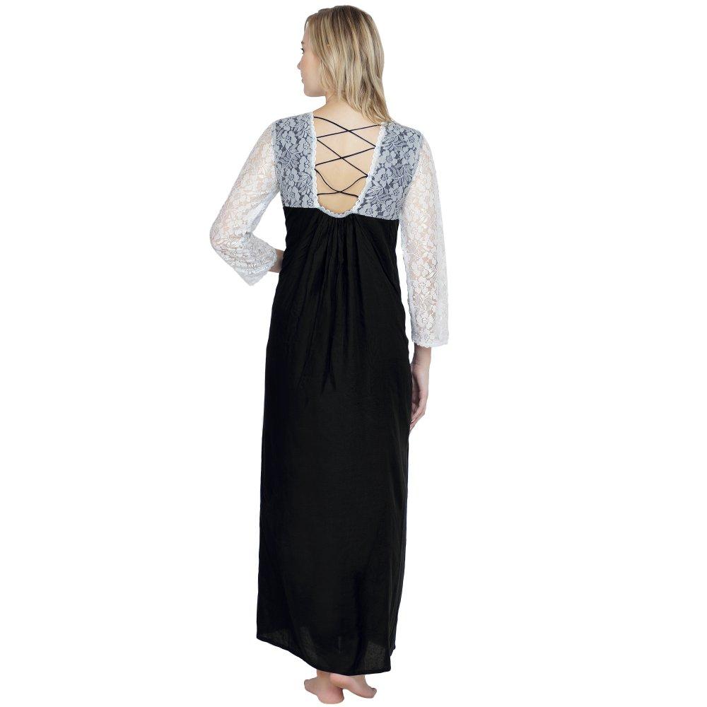 Lace Blouson Maxi Dress in Black
