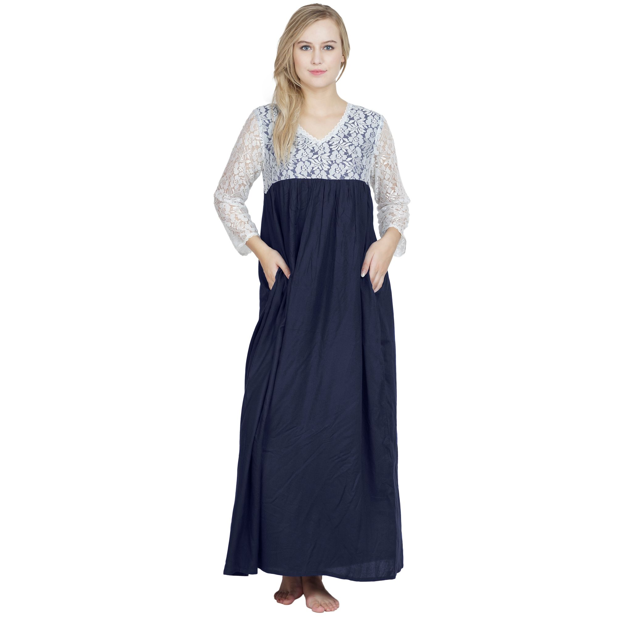 Lace Blouson Maxi Dress in Dark Blue