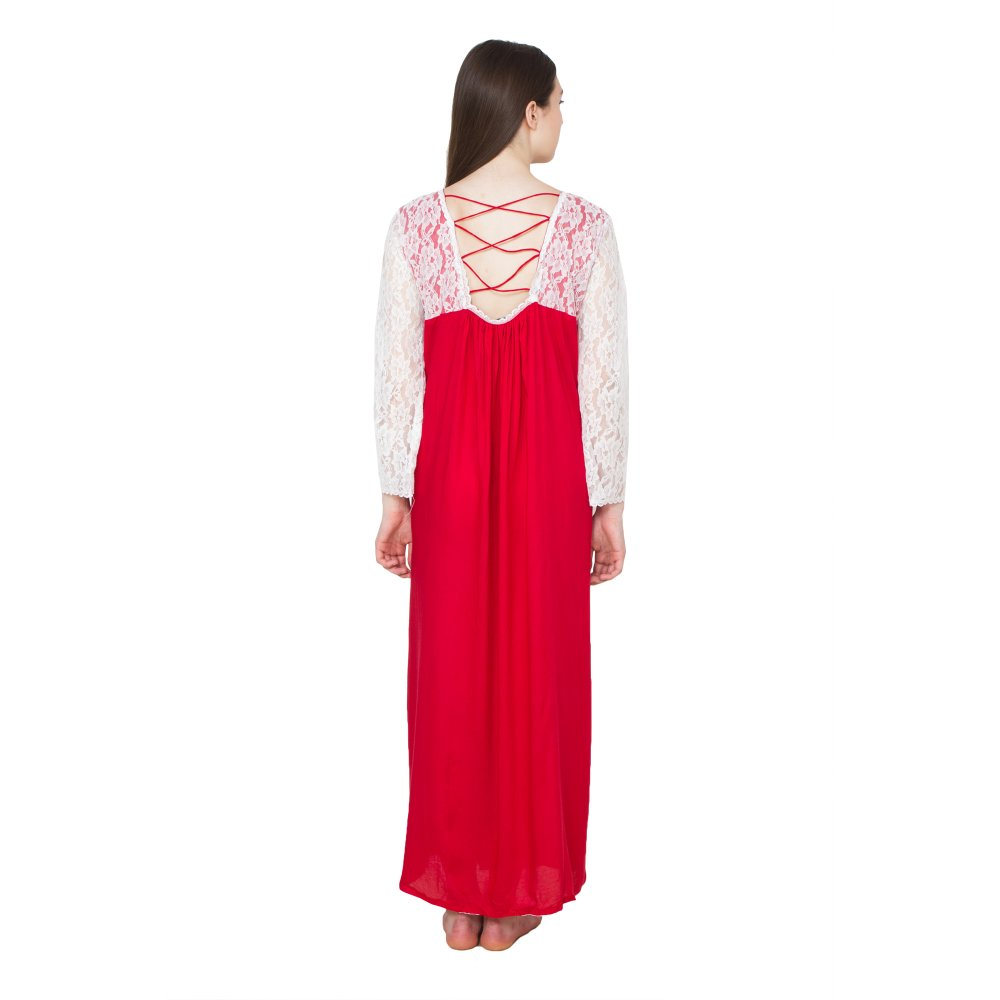 Lace Blouson Maxi Dress in Red