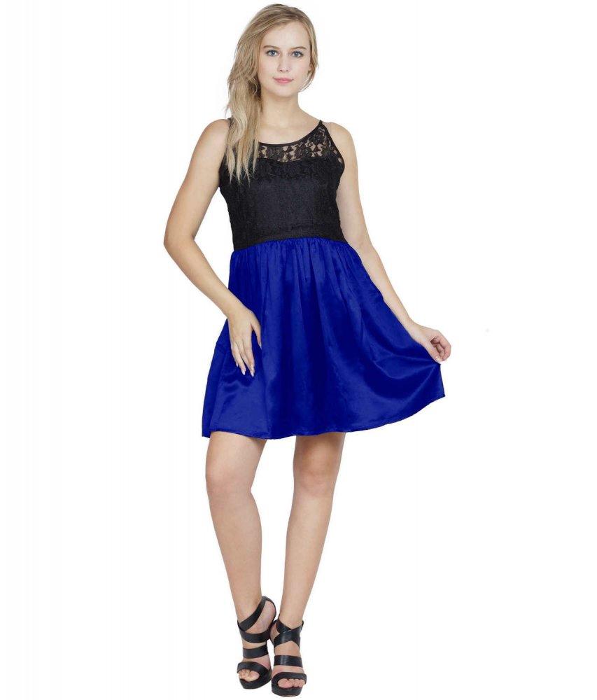 Lace Blouson Skater Bodycon Dress in Black:Royal Blue