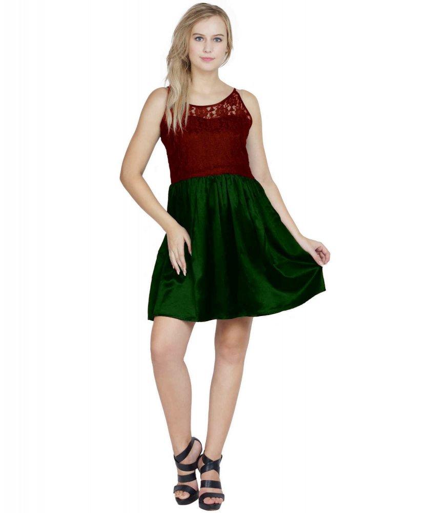 Lace Blouson Skater Bodycon Dress in Maroon:Bottle Green