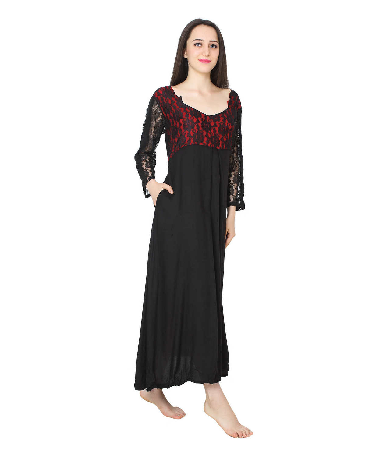 Lace Blouson Smock Style Maxi Nighty Dress in Black:Red