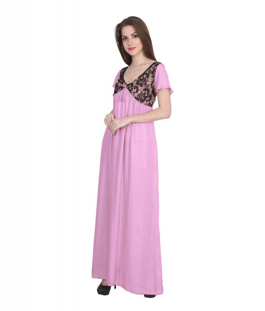 Lace Bodice Cap Sleeve Maxi Length Nighty in Baby Pink