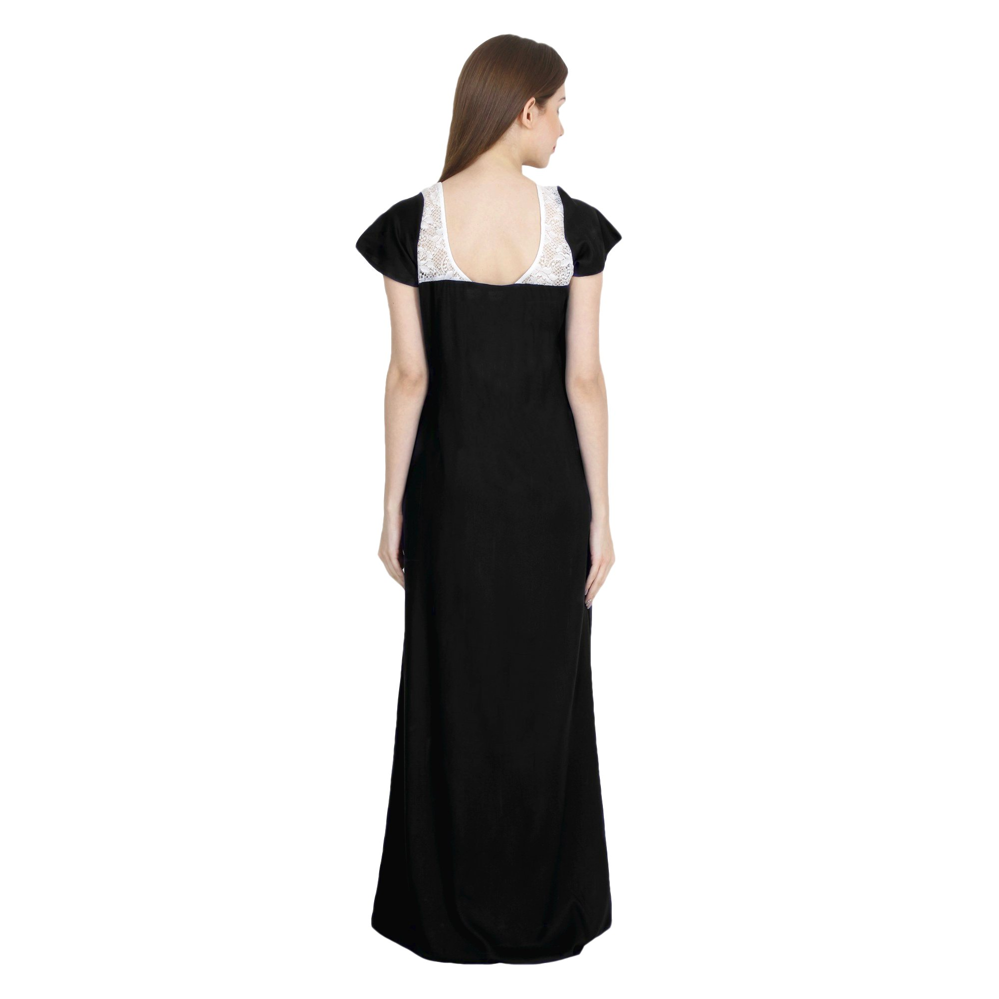 Lace Bodice Cap Sleeve Maxi Length Nighty in Black