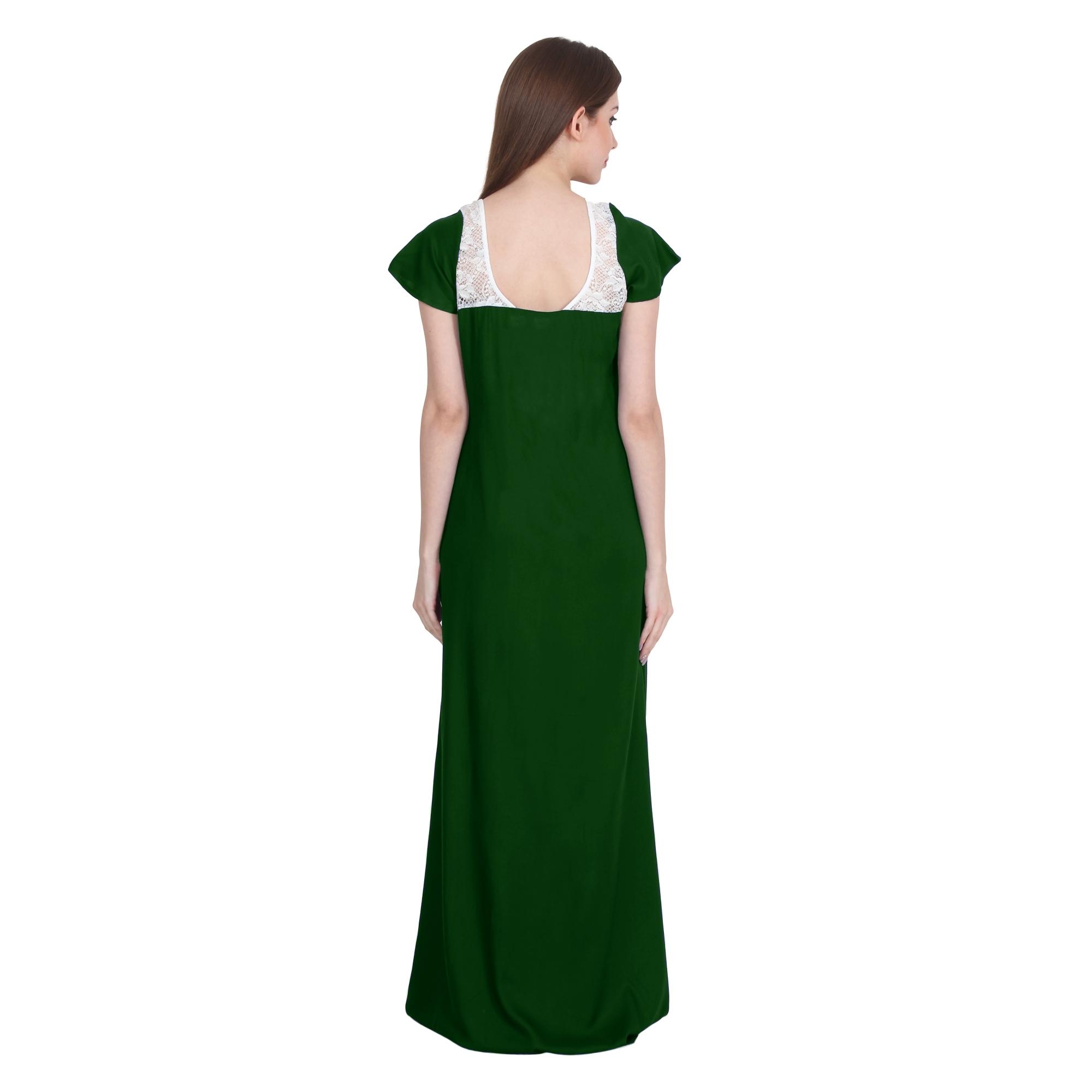 Lace Bodice Cap Sleeve Maxi Length Nighty in Bottle Green