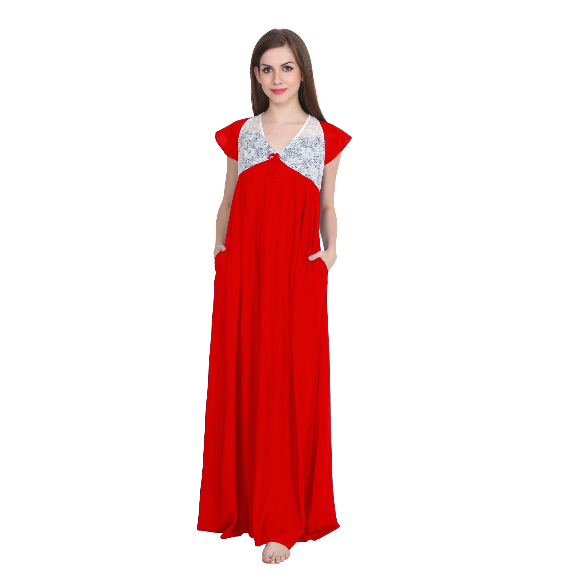 Lace Bodice Cap Sleeve Maxi Length Nighty in Red
