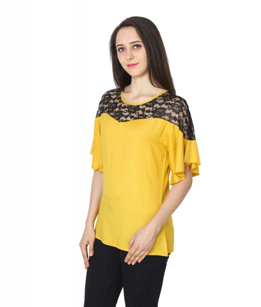 Lace Bodice Kimono Sleeve Top in Black: Mustard
