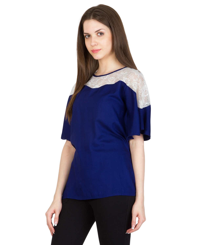 Lace Bodice Kimono Sleeve Top in White: Royal Blue