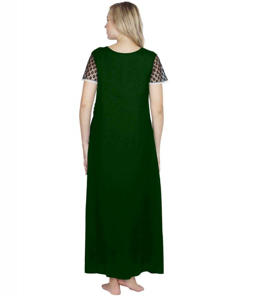 Lace Embellished Blouson Maxi Night-Gown Black:Bottle Green