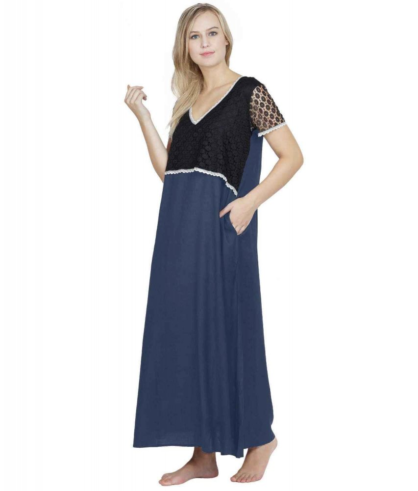 Lace Embellished Blouson Maxi Night-Gown Black:Charcoal Grey