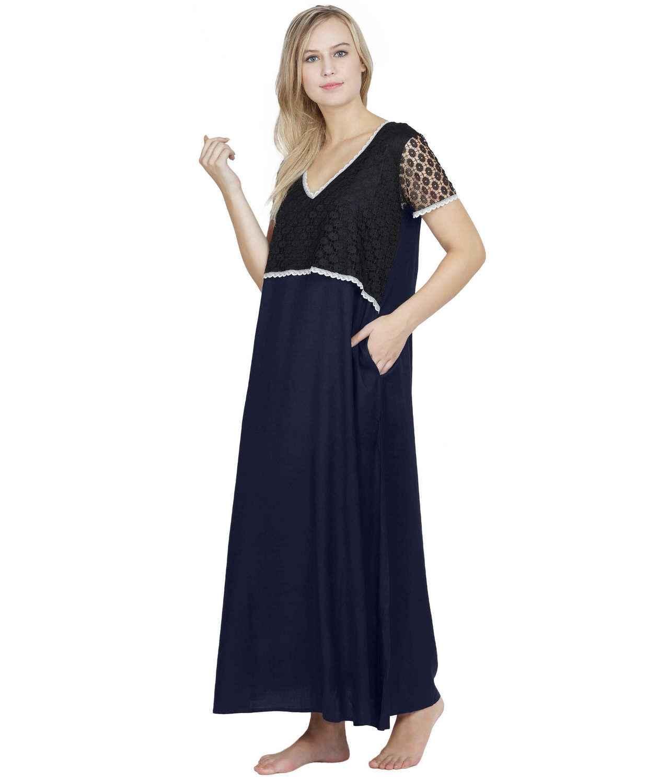 Lace Embellished Blouson Maxi Night-Gown Black:Dark Blue